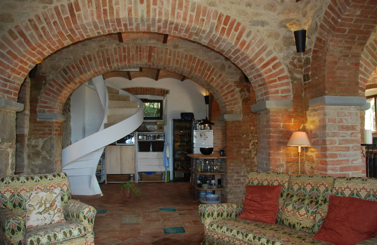 Arches in converted byre, now the main living area (the stair now has a handrail!)
